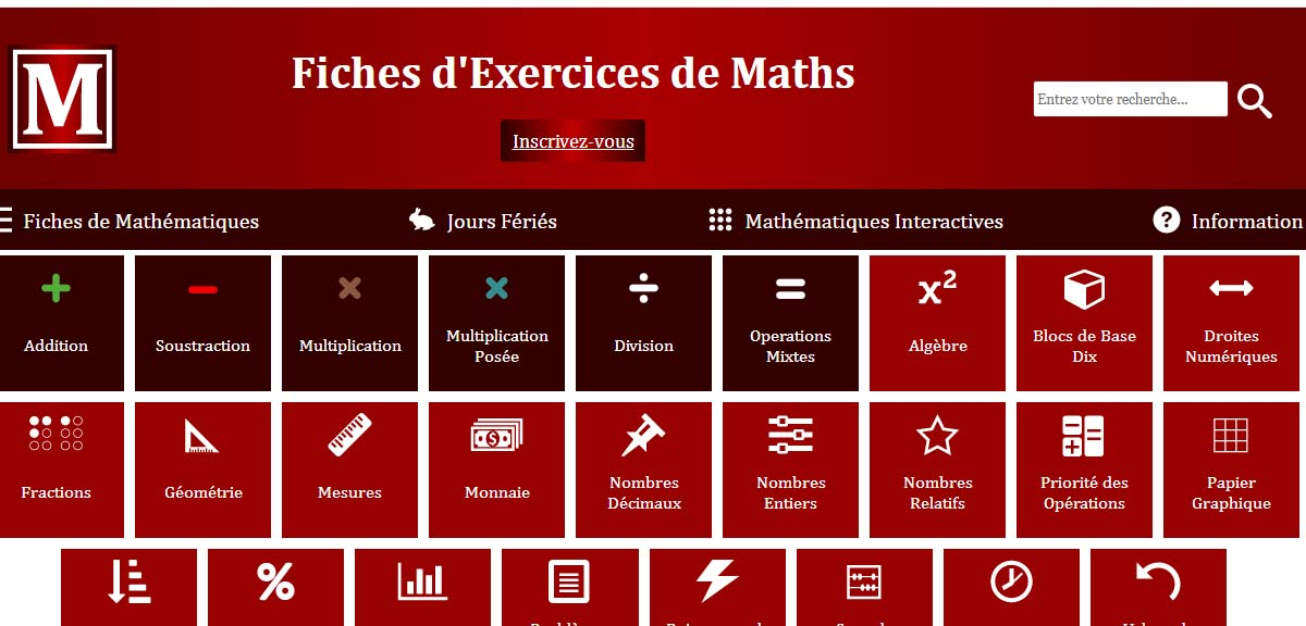 Fiches d'exercices de Maths